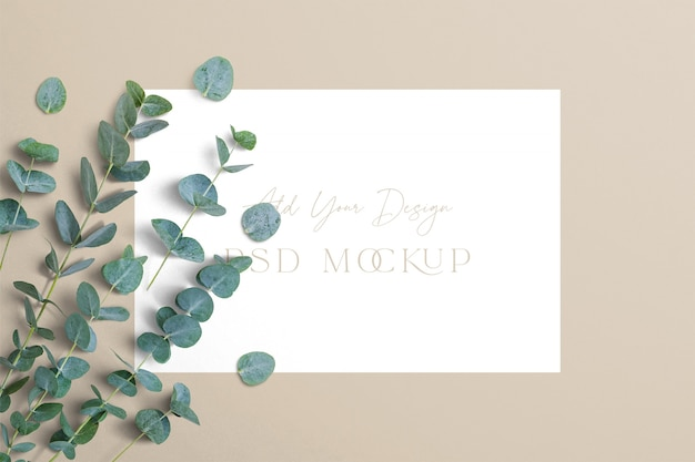 Eucalyptus branches with sign template