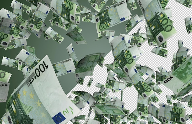 Euro banknotes falling – hundreds of 100 dollars falling from the top