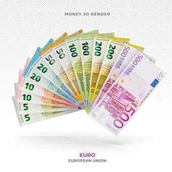 Банкноты евро стек деньги 3d визуализации
