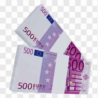 Валюта европейского союза 500 евро: стопка европейских банкнот евро