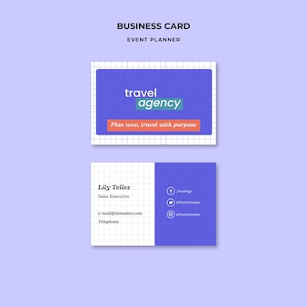 Шаблон дизайна визитной карточки для планировщика мероприятий