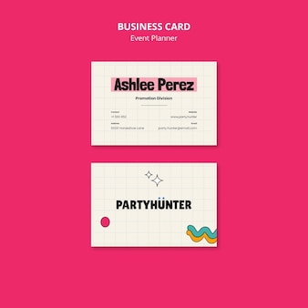 Event planner horizontal business card template