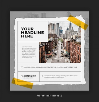 Event promo instagram template with paper style