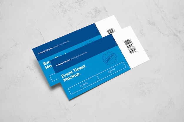 Event ticket laying on floor mockup