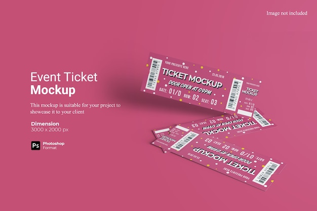 Event ticket mockup 3d rendering isolated