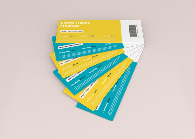 Event ticket mockup design in 3d rendering isolated
