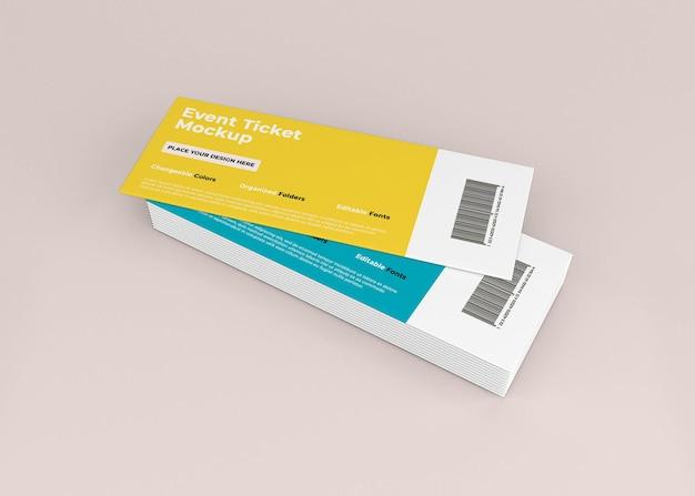 Дизайн макета билета на мероприятие в 3d-рендеринге