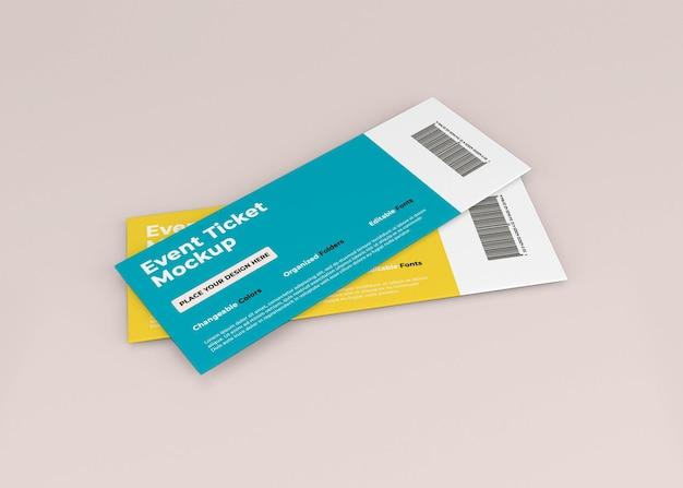 Дизайн макета билета на мероприятие в 3d-рендеринге Premium Psd
