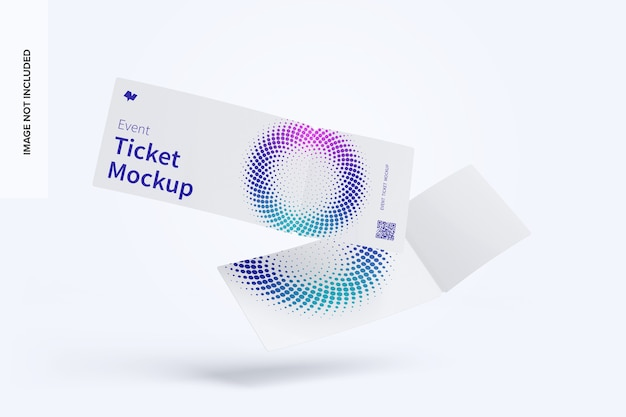 Event ticket mockup floating