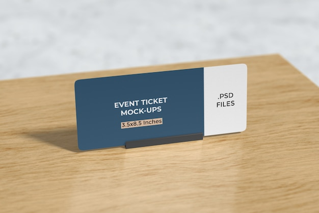 Event ticket mockup on the table