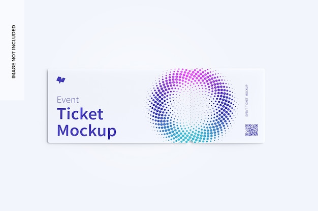 Event ticket mockup top view