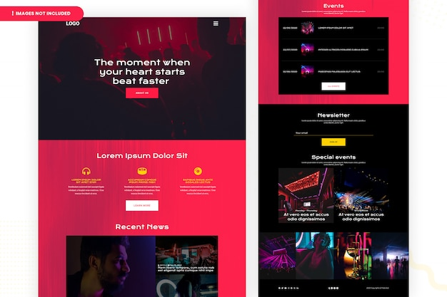 Events website page template