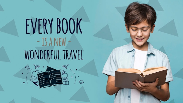 Every book is a new travel cute boy mock-up