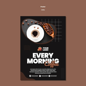 Every morning coffee poster template Free Psd