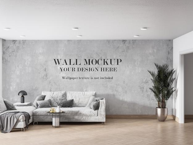 Дизайн мокапа стены повседневной гостиной