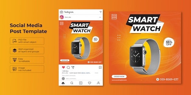 Exclusive collection smartwatch sale social media post template design