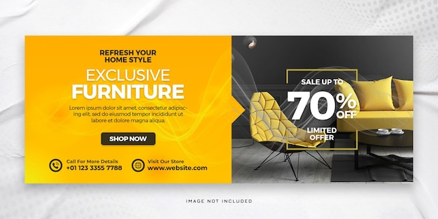 Exclusive furniture facebook cover and web banner psd template