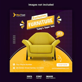Exclusive furniture instagram post banner template