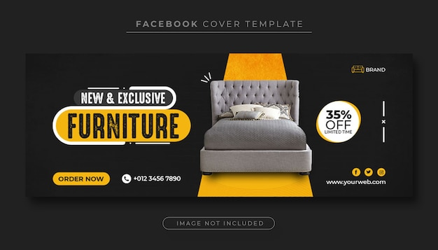 Exclusive furniture sale facebook cover banner template