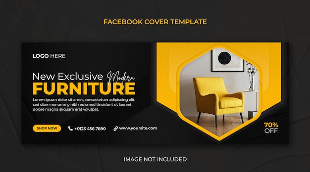 Exclusive furniture sale facebook cover or horizontal web banner psd template