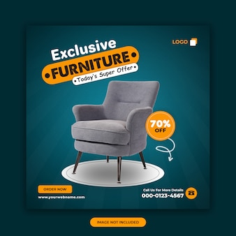 Exclusive furniture sale offer banner design template