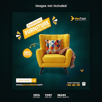 Exclusive furniture sale promotion banner template