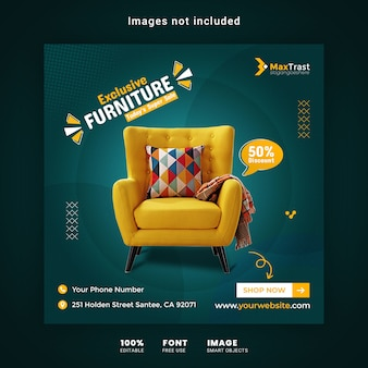 Exclusive furniture sale promotion instagram post banner template