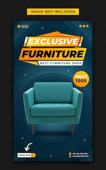 Exclusive furniture sale social media banner and instagram stories template