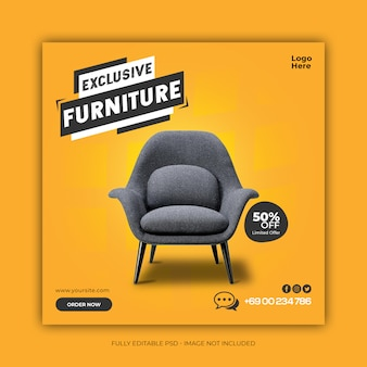 Exclusive furniture sale social media banner template Premium Psd