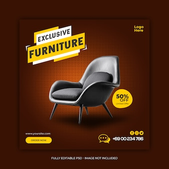 Exclusive furniture sale social media banner template