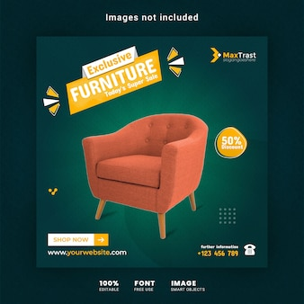 Exclusive furniture sale square or social media banner template