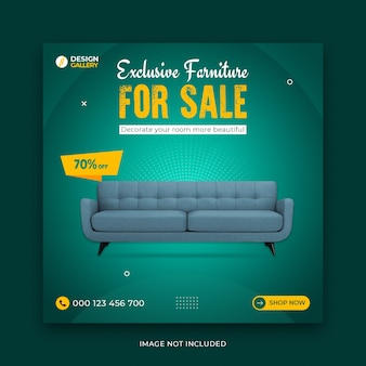 Exclusive furniture sale template for web social media banner Premium Psd