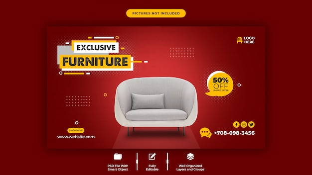 Exclusive furniture sale web banner template