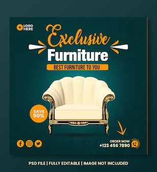 Exclusive furniture social media instagram post template