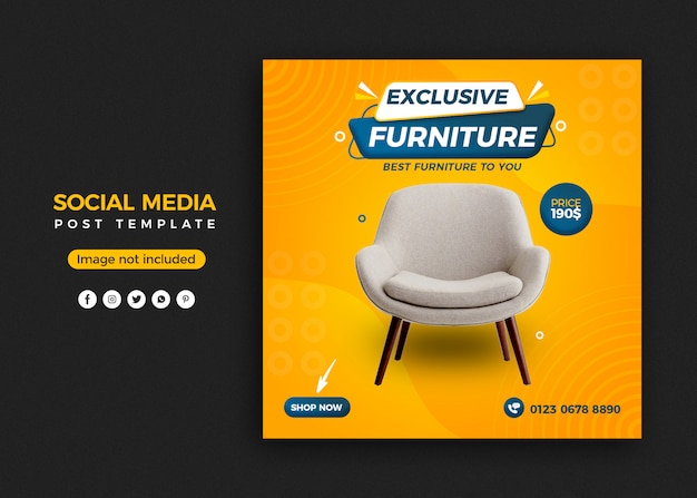 Exclusive furniture social media post banner template design