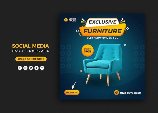 Exclusive furniture social media post banner template design