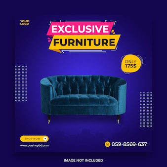 Exclusive furniture social media post template for sale