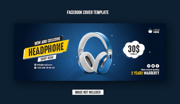 Exclusive headphone facebook cover banner template