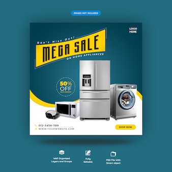 Exclusive home appliance social media square banner template