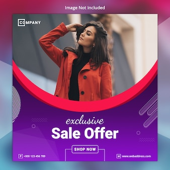 Exclusive sale social media banner template