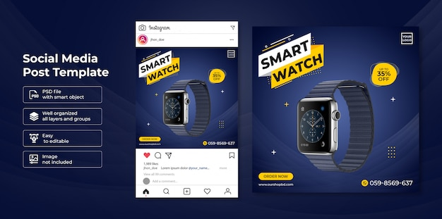 Exclusive smartwatch sale social media post banner template
