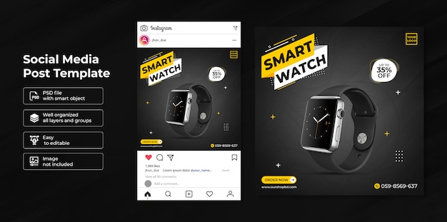 Exclusive smartwatch sale social media post template
