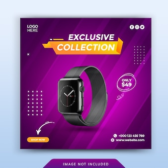 Exclusive watch promotion social media banner template