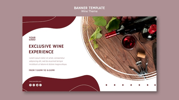 Exclusive wine experience banner template