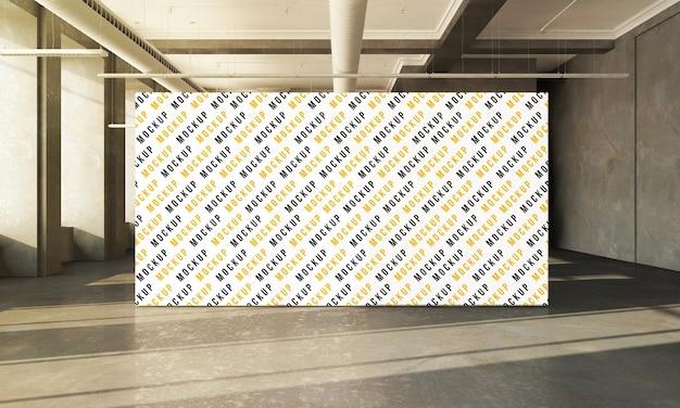 Exhibition billboard on concrete hall 3d rendering mockup design