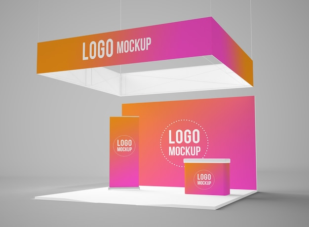 Exhibition booth 3d mockup isolated