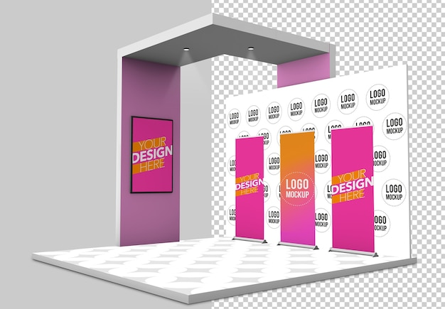 Exhibition booth mockup isolated