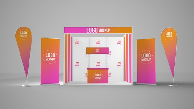 Exhibition booth mockup with banners and rollups