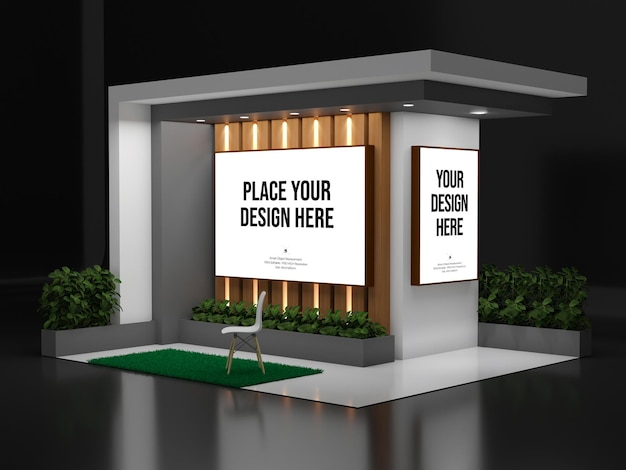 Exhibition booth mockup with wall design