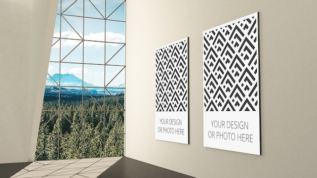 垂直画像プレースホルダーを使用した展示ギャラリーのモックアップ